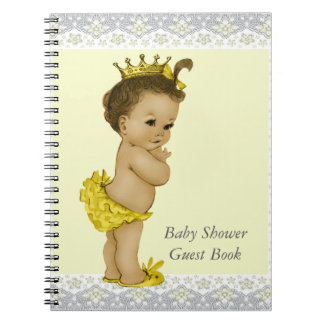 Yellow and Gray Ethnic Baby Shower Guest Book Spiral Notebook