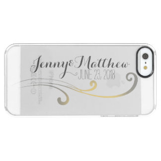 Yellow and Gray Faded Flourish Wedding Clear iPhone SE/5/5s Case