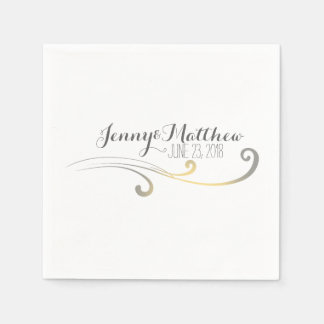 Yellow and Gray Faded Flourish Wedding Standard Cocktail Napkin