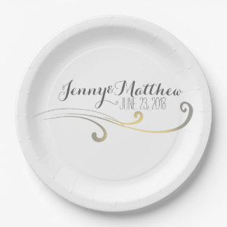Yellow and Gray Faded Flourish Wedding Paper Plate