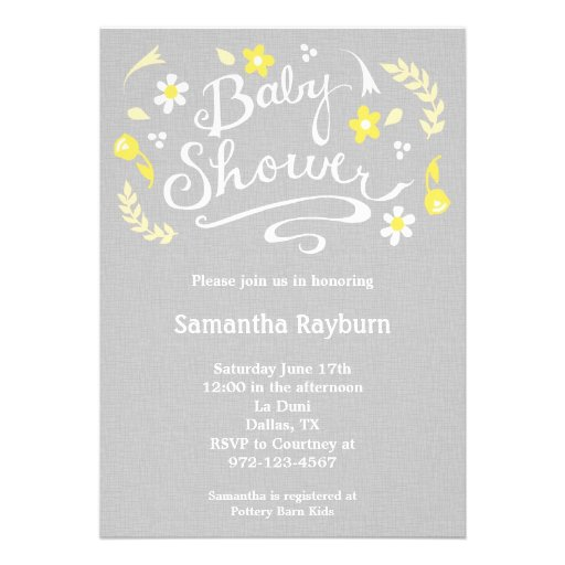 Yellow And Gray Baby Shower Invitations could be nice ideas for your invitation template
