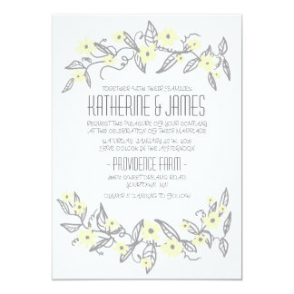 Yellow and Gray Floral Banners Wedding Invitation