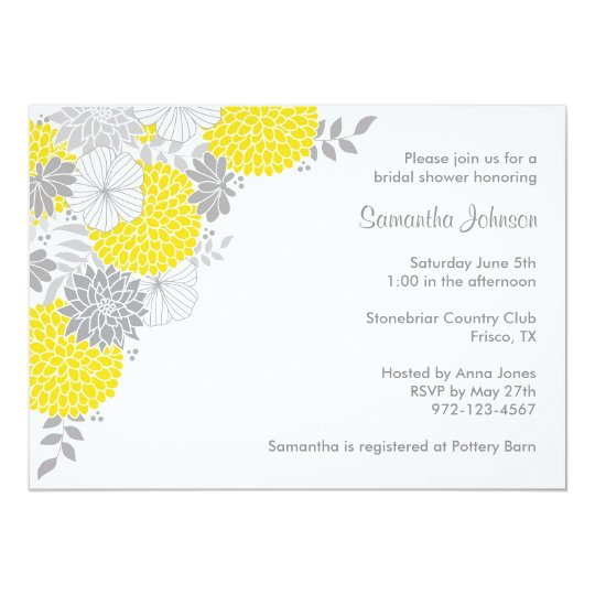 yellow and gray floral bridal shower invitations