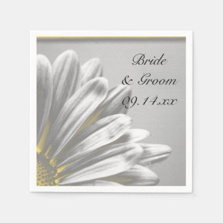 Yellow and Gray Floral Highlights Wedding Paper Napkin