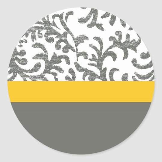 Yellow and Gray Floral Pattern Classic Round Sticker