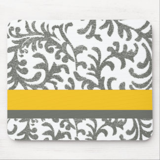 Yellow and Gray Floral Pattern Mouse Pad