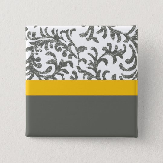 Yellow and Gray Floral Pattern Pinback Button