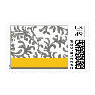 Yellow and Gray Floral Pattern Stamp