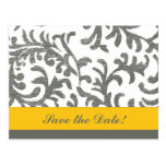 Yellow and Gray Floral Pattern Postcards