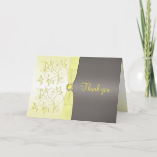 Yellow and Gray Floral Thank You Card card