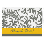 Yellow and Gray Floral Thank You Cards