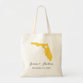 Yellow and Gray Florida Wedding Welcome Tote Bag