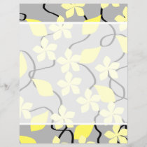 Yellow and Gray Flowers. Floral Pattern.