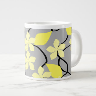 Yellow and Gray Flowers. Floral Pattern. 20 Oz Large Ceramic Coffee Mug
