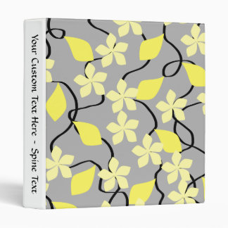 Yellow and Gray Flowers. Floral Pattern. Binders