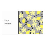 Yellow and Gray Flowers. Floral Pattern. Business Cards