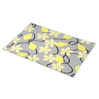 Yellow and Gray Flowers. Floral Pattern. Cloth Placemat
