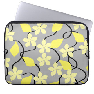 Yellow and Gray Flowers. Floral Pattern. Computer Sleeves