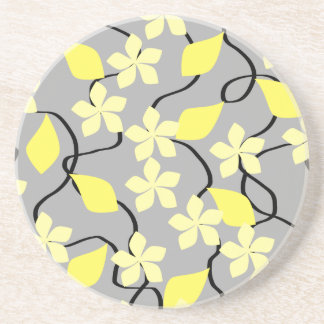 Yellow and Gray Flowers. Floral Pattern. Drink Coaster