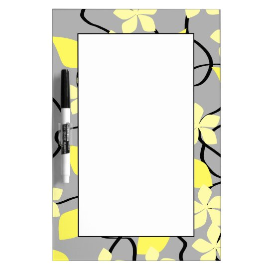 Yellow and Gray Flowers. Floral Pattern. Dry-Erase Board