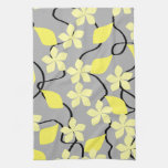 Yellow and Gray Flowers. Floral Pattern. Hand Towels