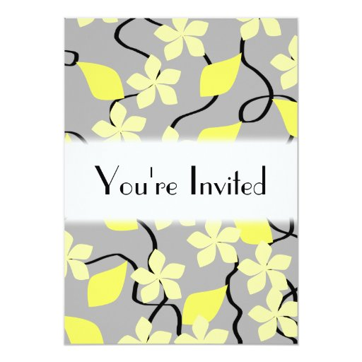 Yellow and Gray Flowers. Floral Pattern. 5x7 Paper Invitation Card