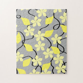 Yellow and Gray Flowers. Floral Pattern. Jigsaw Puzzle