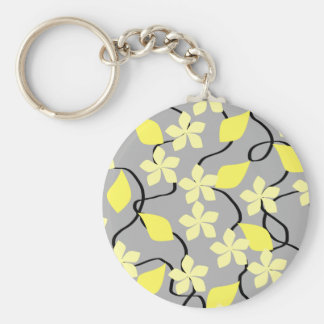Yellow and Gray Flowers. Floral Pattern. Key Chains