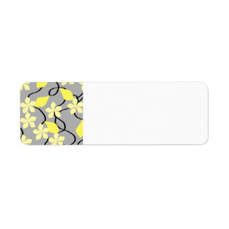 Yellow and Gray Flowers. Floral Pattern. Return Address Label