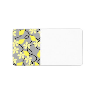Yellow and Gray Flowers. Floral Pattern. Address Label