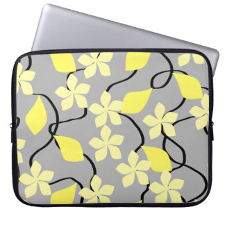 Yellow and Gray Flowers. Floral Pattern. Laptop Sleeve