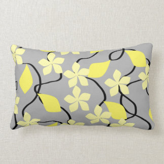Yellow and Gray Flowers. Floral Pattern. Lumbar Pillow