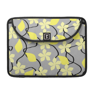 Yellow and Gray Flowers. Floral Pattern. Sleeves For MacBook Pro
