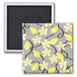Yellow and Gray Flowers. Floral Pattern. Refrigerator Magnets