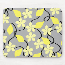 Yellow and Gray Flowers. Floral Pattern. Mouse Pad