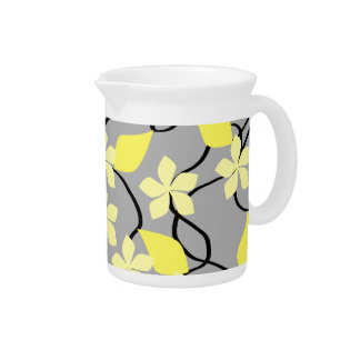 Yellow and Gray Flowers. Floral Pattern. Beverage Pitcher