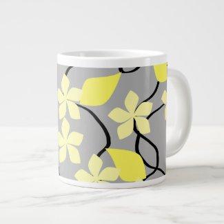 Yellow and Gray Flowers. Floral Pattern. Jumbo Mugs