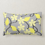 Yellow and Gray Flowers. Floral Pattern. Throw Pillow