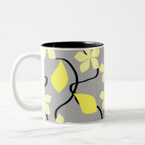 Yellow and Gray Flowers. Floral Pattern. Two-Tone Coffee Mug