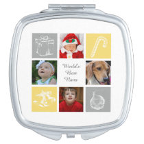 yellow and gray four photos collage compact mirror