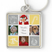 yellow and gray four photos collage keychain