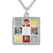 yellow and gray four photos collage photo necklace