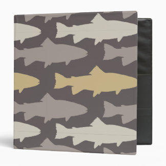 Yellow and Gray Fun Trout Fish Pattern Vinyl Binder
