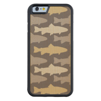 Yellow and Gray Fun Trout Fish Pattern Carved Maple iPhone 6 Bumper Case