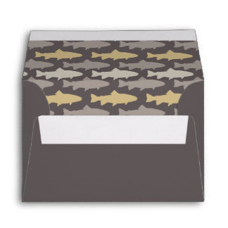 Yellow and Gray Fun Trout Fish Pattern Envelopes
