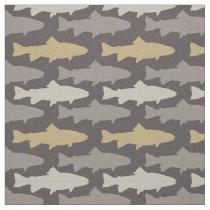 Yellow and Gray Fun Trout Fish Pattern Fabric