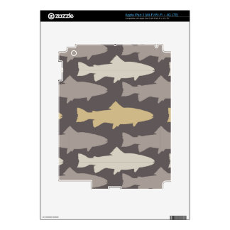 Yellow and Gray Fun Trout Fish Pattern iPad 3 Decals