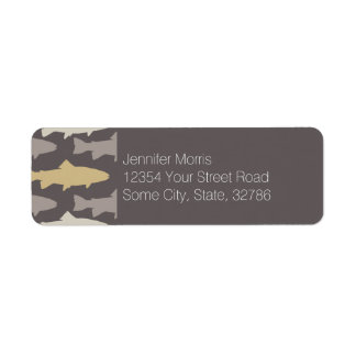 Yellow and Gray Fun Trout Fish Pattern Label