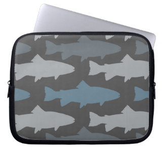 Yellow and Gray Fun Trout Fish Pattern Laptop Sleeve