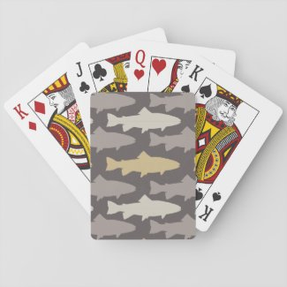 Yellow and Gray Fun Trout Fish Pattern Deck Of Cards
